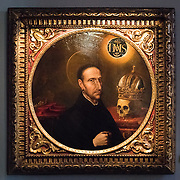 An oil on wood painting of Saint Francis Borgia (Sao Francisco de Borja) by Portuguese painter Domingod da Cunha (O Cabrinha) dating to around 1630. The Museu de São Roque is a museum attached to the the Igreja de Sao Roque to display various historical religious artefacts from the church. The 16th century Igreja de São Roque was one of the earliest Jesuit churches in Christendom and features a series of ornately decorated Baroque chapels.
