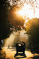 Downtown streets in the early morning hours with the sun shining through, Jaffna, Sri Lanka, Asia