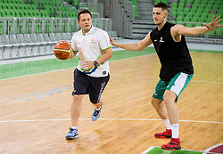 Aleksander Sekulic and Gezim Morina during public training session of Slovenian National Basketball team, on August 1, 2016 in Arena Stozice, Ljubljana, Slovenia. Photo by Vid Ponikvar / Sportida