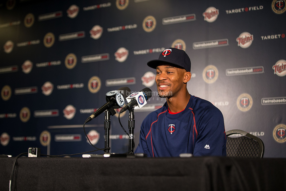 MINNEAPOLIS, MN- JUNE 17: Byron Buxton #25 of the Minnesota Twins speaks to the media against the St. Louis Cardinals on June 17, 2015 at Target Field in Minneapolis, Minnesota. The Twins defeated the Cardinals 3-1. (Photo by Brace Hemmelgarn) *** Local Caption *** Byron Buxton