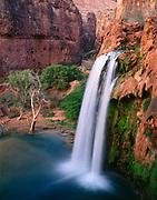 Havasu Falls and travertine formations, Havasupai Indian Reservation, Grand Canyon,  Arizona