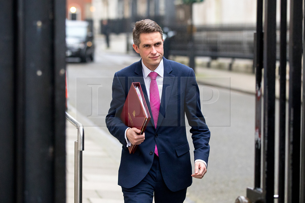 © Licensed to London News Pictures. 09/01/2018. London, UK. Defence Secretary Gavin Williamson leaving Downing Street after attending a Cabinet meeting this morning. Yesterday British Prime Minister Theresa May reshuffled her cabinet, appointing some new ministers. Photo credit : Tom Nicholson/LNP
