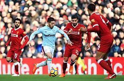 Manuel Lanzini of West Ham United takes on Emre Can of Liverpool - Mandatory by-line: Matt McNulty/JMP - 24/02/2018 - FOOTBALL - Anfield - Liverpool, England - Liverpool v West Ham United - Premier League