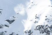 Verbier, Switzerland. March 23rd 2010..X-Trem Verbier 2010 - Freeride World Tour.Bec des Rosses from Col des Gentianes.Swiss snowboarder Cyril Neri
