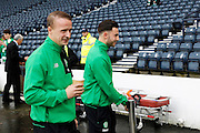 Celtic's Leigh Griffiths (9) has a pre match cuppa before the Betfred Scottish Cup  Final match between Aberdeen and Celtic at Hampden Park, Glasgow, United Kingdom on 27 November 2016. Photo by Craig Galloway.