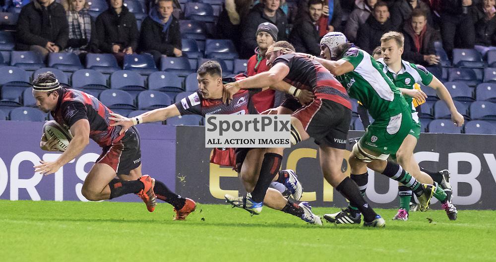 Edinburgh #7 John Hardie dives over for his second half try. Edinburgh Rugby v London Irish, 18th December 2015