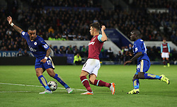 Aaron Cresswell of West Ham United (C) in action  - Mandatory byline: Jack Phillips/JMP - 07966386802 - 22/09/2015 - SPORT - FOOTBALL - Leicester - King Power Stadium - Leicester City v West Ham United - Capital One Cup Round 3