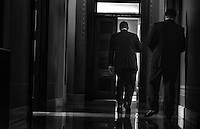 WASHINGTON, DC - SEPTEMBER 28:  Within his office getting his morning coffee, Speaker of the House John Boehner (R-OH) arrives to the US Capitol for a day of meetings concerning the House's Continuing Resolution spending bill, to fund the government at a $986 billion annual level through Nov. 15, with the defunding of the Affordable Care Act removed by the Senate, on Capitol Hill Saturday September 28, 2013. <br /> (Photo by Melina Mara/The Washington Post)