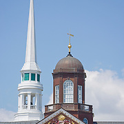 Church Steeple and City Hall Tower. Ellsworth, Maine