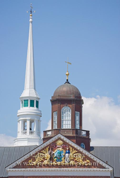 Church Steeple and City Hall Tower. Ellsworth, Maine