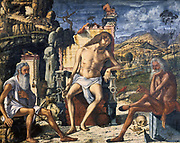 Meditation on the Passion', 1510. Christ between St Jerome, left, and Job, right.   Vittore Carpaccion (c1465-c1525) Italian painter.  Tempera on wood.
