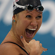 Elizabeth Beisel, USA, after winning the 200m Backstroke semi final at the Aquatic Centre at Olympic Park, Stratford during the London 2012 Olympic games. London, UK. 2nd August 2012. Photo Tim Clayton