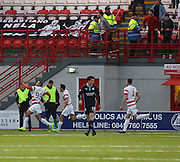 Hamilton's Mikael Antoine-Curier celebrates after scorin a screamer against former club Dundee -  Hamilton Academical v Dundee, SPFL Premiership at New Douglas Park<br /> <br />  - &copy; David Young - www.davidyoungphoto.co.uk - email: davidyoungphoto@gmail.com