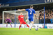 Chelsea's Branislav Ivanovic during the Capital One Cup match between Chelsea and Liverpool at Stamford Bridge, London, England on 27 January 2015. Photo by Sam Shaw.