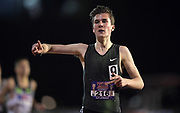 May 3, 2018; Stanford, CA, USA; Jakob Ingebrigtsen (NOR) celebrates after winning the 1,500m in 3:39.06 during the Payton Jordan Invitational at Cobb Track &  Angell Field.