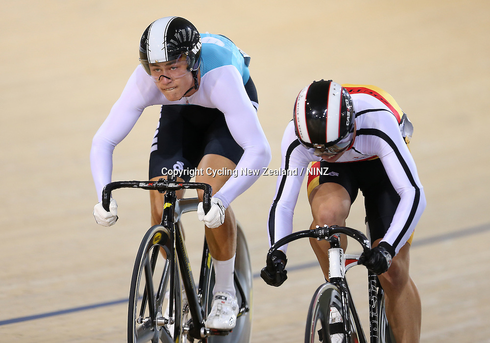 West Coast North Island's Campbell Stewart, left, and Southland's Bradly Knipe in the M19 Sprint semi final at the Skoda Elite & U19 Track National Championships at the Avantidrome, Cambridge, New Zealand, Saturday, January 31, 2015. Photo: Dianne Manson / www.photosport.co.nz