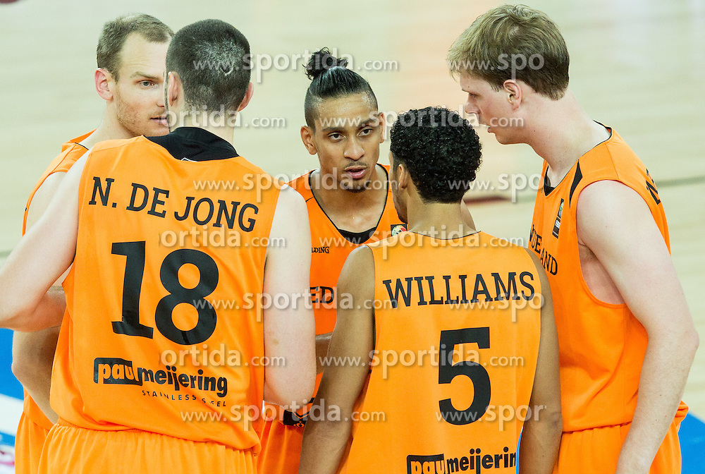 Kees Akerboom of Netherlands, Nicolas de Jong of Netherlands, Worthy de Jong of Netherlands, Leon Williams of Netherlands and Robin Smeulders of Netherlands during basketball match between Georgia and Netherlands at Day 1 in Group C of FIBA Europe Eurobasket 2015, on September 5, 2015, in Arena Zagreb, Croatia. Photo by Vid Ponikvar / Sportida