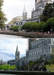 File photo dated September 14, 2018 (top) and on April 10, 2020 (bottom of atmosphere during The Sanctuary of Our Lady of Lourdes has closed for the first time in over a century following new restrictions in France to slow the spread of the coronavirus. ìFor the first time in its history, the sanctuary will close its doors for a while. Pray with us the novena to the Immaculate,î Mgr. Olivier Ribadeau Dumas, rector of the Lourdes sanctuary announced March 17. No public Masses will be offered in the sanctuary due to national measures announced by French President Emmanuel Macron on the evening of March 16. Photo by Thibaud Moritz/JMP/ABACAPRESS