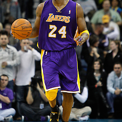 February 5, 2011; New Orleans, LA, USA; Los Angeles Lakers shooting guard Kobe Bryant (24) during the fourth quarter of a game against the New Orleans Hornets at the New Orleans Arena. The Lakers defeated the Hornets 101-95.  Mandatory Credit: Derick E. Hingle