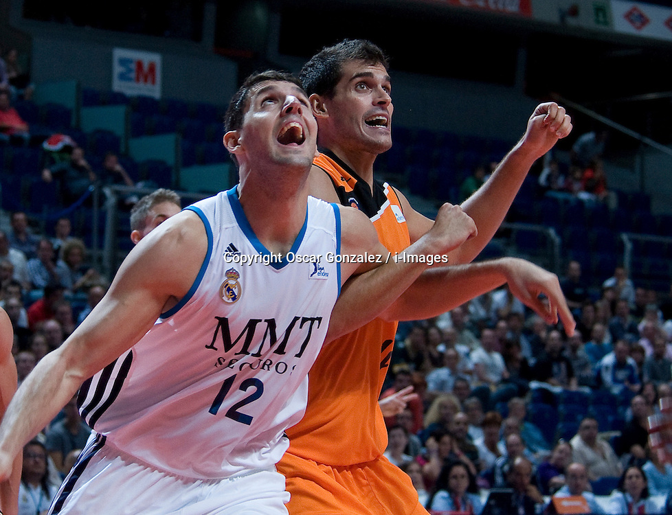Real Madrid's basketball wins are the Mad-Croc Fuenlabrada 100-79, in the Endesa ACB league match, played on 14 October in the Palacio de los Deportes, Madrid, Spain, October 14, 2012. Oscar Gonzalez / i-Images...SPAIN OUT