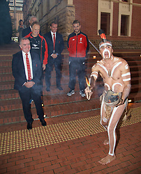 ADELAIDE, AUSTRALIA - Sunday, July 19, 2015: Liverpool's Managing Director Ian Ayre, assistant manager Sean O'Driscoll, manager Brendan Rodgers and captain Jordan Henderson get an Aboriginal 'Welcome to Country' during a visit to the Art Gallery of South Australia ahead of a preseason friendly match against Adelaide United on day seven of the club's preseason tour. (Pic by David Rawcliffe/Propaganda)
