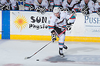 KELOWNA, CANADA - JANUARY 22: Tomas Soustal #15 of Kelowna Rockets skates with the puck against the Tri City Americans on January 22, 2016 at Prospera Place in Kelowna, British Columbia, Canada.  (Photo by Marissa Baecker/Shoot the Breeze)  *** Local Caption *** Tomas Soustal;