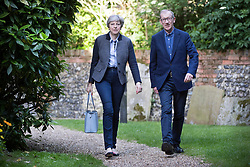 © Licensed to London News Pictures. 28/05/2017. Maidenhead, UK. Prime Minister Theresa May attends church in her constituency with her husband PHILIP. Photo credit: Peter Macdiarmid/LNP