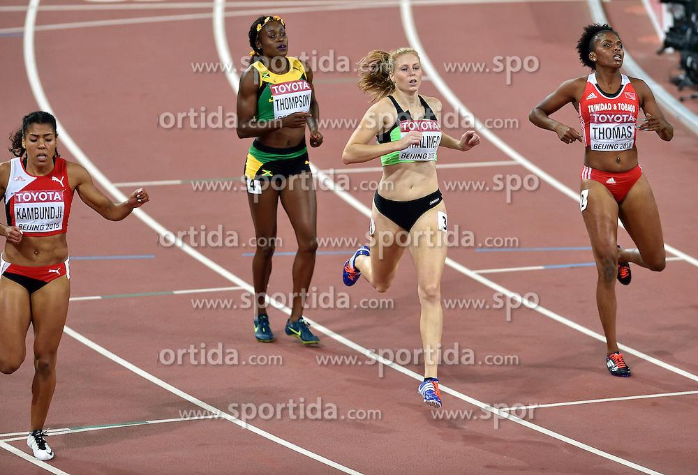 27-08-2015 CHN: IAAF World Championships Athletics day 6, Beijing<br /> Maja Mihalinec SLO run a personal best on the 200 m in 23.04<br /> Elaine Thompson JAM wins, Mujinga Kambundji 4th and Reyare Thomas USA 7th
