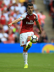 "Arsenal's Granit Xhaka during the Community Shield at Wembley, London. PRESS ASSOCIATION Photo. Picture date: Sunday August 6, 2017. See PA story SOCCER Community Shield. Photo credit should read: Nigel French/PA Wire. RESTRICTIONS: EDITORIAL USE ONLY No use with unauthorised audio, video, data, fixture lists, club/league logos or ""live"" services. Online in-match use limited to 75 images, no video emulation. No use in betting, games or single club/league/player publications."