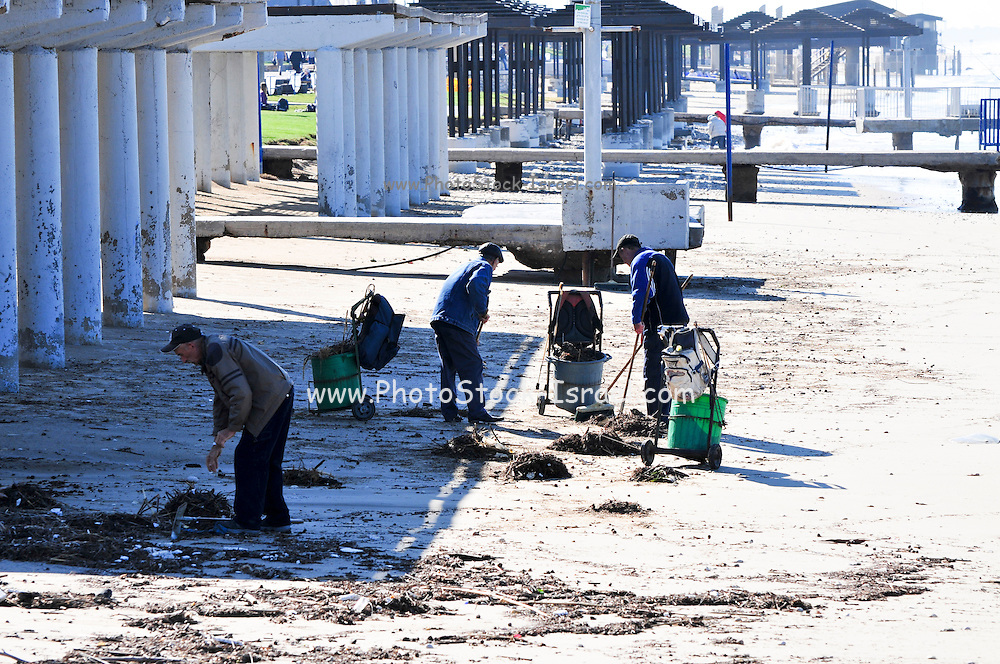 Israel, Haifa, Municipality workers clean the beach after a storm