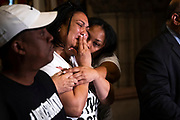 Antwon Rose II's mother, Michelle Kenney, reacts as attorney Fred Rabner addresses reporters, Wednesday, June 27, 2018 at the Allegheny County Courthouse Downtown.(Harrison Jones/Post-Gazette)