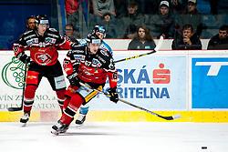 18.10.2015, Ice Rink, Znojmo, CZE, EBEL, HC Orli Znojmo vs EHC Liwest Black Wings Linz, 13. Runde, im Bild v.l. Libor Sulak (HC Orli Znojmo) Ondrej Fiala (HC Orli Znojmo) Daniel Oberkofler (Linz) // during the Erste Bank Icehockey League 13th round match between HC Orli Znojmo and EHC Liwest Black Wings Linz at the Ice Rink in Znojmo, Czech Republic on 2015/10/18. EXPA Pictures © 2015, PhotoCredit: EXPA/ Rostislav Pfeffer