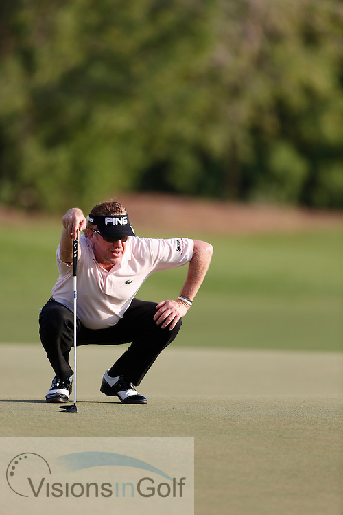 Miguel Angel Jimenez<br /> during the third round of the Race To Dubai DP World Tour Golf Championship, Dubai, UAE November  2013<br /> Picture Credit:  Mark Newcombe / www.visionsingolf.com