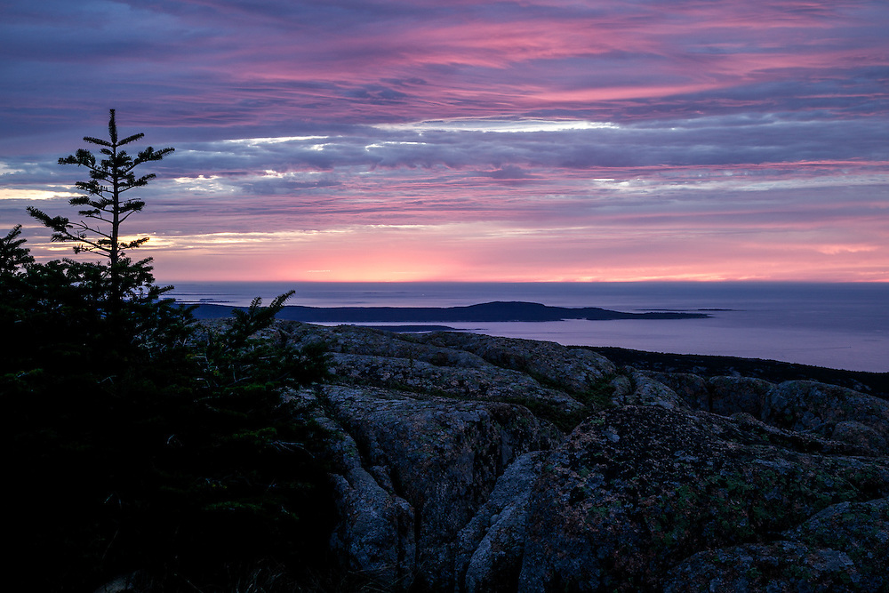 Dawn view from Cadillac Mountain in Acadia National Park, the first place in the United States to see the sun come up