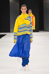 """© Licensed to London News Pictures. 02/06/2015. London, UK. Collection by Pippa Harries, Kingston University. Runway show """"Best of Graduate Fashion Week 2015"""". Graduate Fashion Week takes place from 30 May to 2 June 2015 at the Old Truman Brewery, Brick Lane. Photo credit : Bettina Strenske/LNP"""