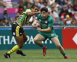April 6, 2018 - Hong Kong, China - JIMMY O'BRIEN (9) of Ireland in action against Jamaica during the 2018 Hong Kong Rugby Sevens at Hong Kong Stadium in Hong Kong. (Credit Image: © David McIntyre via ZUMA Wire)