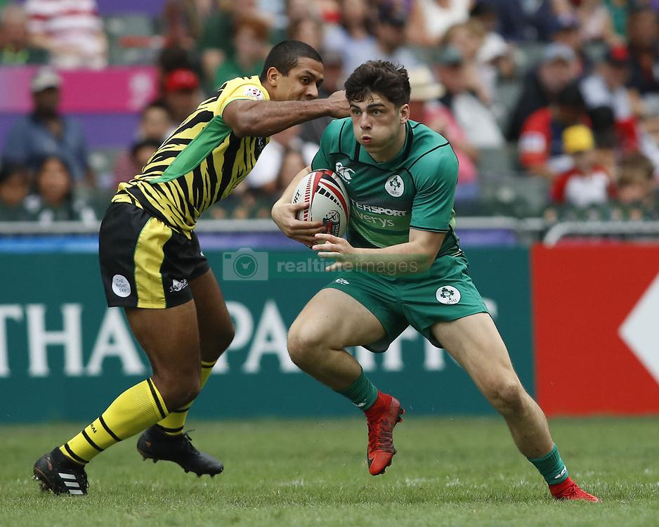 April 6, 2018 - Hong Kong, China - JIMMY O'BRIEN (9) of Ireland in action against Jamaica during the 2018 Hong Kong Rugby Sevens at Hong Kong Stadium in Hong Kong. (Credit Image: © David McIntyre via ZUMA Wire)