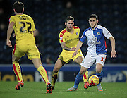 Craig Conway (Blackburn Rovers) looks up to see who to pass to during the Sky Bet Championship match between Blackburn Rovers and Rotherham United at Ewood Park, Blackburn, England on 11 December 2015. Photo by Mark P Doherty.