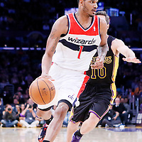 21 March 2014: Washington Wizards forward Trevor Ariza (1) drives past Los Angeles Lakers guard Steve Nash (10)  during the Washington Wizards 117-107 victory over the Los Angeles Lakers at the Staples Center, Los Angeles, California, USA.