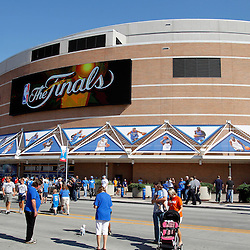 Jun 12, 2012; Oklahoma City, OK, USA;  An exterior view of the arena  prior game one in the 2012 NBA Finals between the Miami Heat and the Oklahoma City Thunder at the Chesapeake Energy Arena.  Mandatory Credit: Derick E. Hingle-US PRESSWIRE