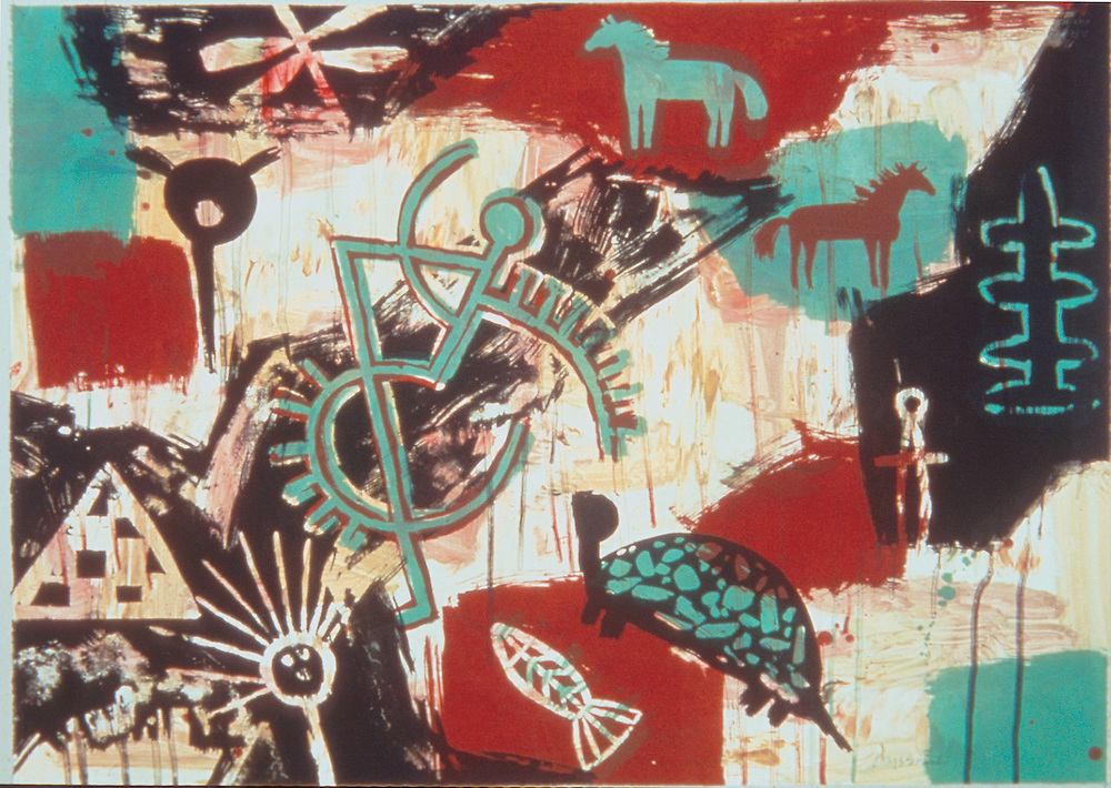 "From the exhibition ""Multiple Impressions: .Native American Artists and the Print"" on view. at the Kennedy Museum of Art, Sept. 10-Dec. 1, 2002..Jaune Quick-to-See Smith.Fancy Dancer, 1989.monoprint"