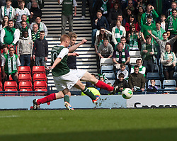 Hibernian's Eoin Doyle scoring their third goal..Hibernian 4 v 3 Falkirk, William Hill Scottish Cup Semi Final, Hampden Park..©Michael Schofield..