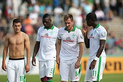 17.08.2014, Donaustadion, Ulm, GER, DFB Pokal, FV Illertissen vs SV Werder Bremen, 1. Runde, im Bild Zlatko Junuzovic ( SV Werder Bremen ) Assani Lukimya ( SV Werder Bremen ) Izet Hajrovic ( SV Werder Bremen ) Eljero Elia ( SV Werder Bremen ) nach dem 2:3 Sieg // during the 1st round match of German DFB Pokal between FV Illertissen and SV Werder Bremen at the Donaustadion in Ulm, Germany on 2014/08/17. EXPA Pictures © 2014, PhotoCredit: EXPA/ Eibner-Pressefoto/ Langer<br /> <br /> *****ATTENTION - OUT of GER*****