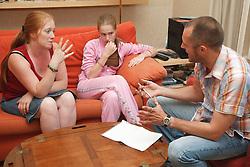 Girl being interviewed.
