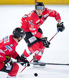 12.02.2016, Olympiaworld, Innsbruck, AUT, Euro Ice Hockey Challenge, Österreich vs Slowakei, im Bild Brian Lebler (AUT) und Daniel Woger (AUT) // Brian Lebler of Austria and Daniel Woger of Austria during the Euro Icehockey Challenge Match between Austria and Slovakia at the Olympiaworld in Innsbruck, Austria on 2016/02/12. EXPA Pictures © 2016, PhotoCredit: EXPA/ Jakob Gruber