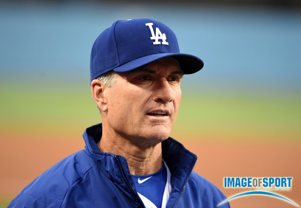 May 16, 2016; Los Angeles, CA, USA; Los Angeles Dodgers bench coach Bob Geren reacts during an interleague MLB game against the Los Angeles Angels at Dodger Stadium.