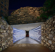 The entrance (and exit) of the Irish Hunger Memorial located alongside the Hudson River in New York city's financial district.