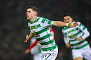 Ryan Christie (#17) of Celtic celebrates Celtic's first goal (1-0) during the Betfred Cup Final between Celtic and Aberdeen at Celtic Park, Glasgow, Scotland on 2 December 2018.