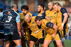 Gaston Cortes, Rob Hawkins and Jack O'Connell of Bristol Rugby scrum down - Rogan Thomson/JMP - 21/01/2017 - RUGBY UNION - Cardiff Arms Park - Cardiff, Wales - Cardiff Blues v Bristol Rugby - EPCR Challenge Cup.