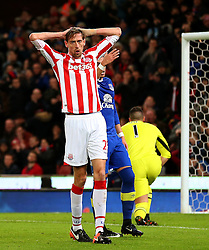 Peter Crouch of Stoke City reacts after missing a chance - Mandatory by-line: Matt McNulty/JMP - 01/02/2017 - FOOTBALL - Bet365 Stadium - Stoke-on-Trent, England - Stoke City v Everton - Premier League